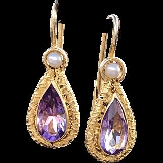 A sweet pair of vintage Sterling vermeil amethyst and seed pearl drop earrings.