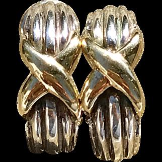 A classic pair of Sterling and 18k X semi hoop earrings