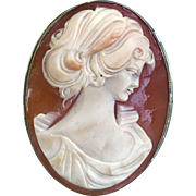 A classic vintage carved shell cameo set in 800 silver