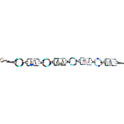 An extremely fine quality  935 silver Art Deco Egyptian revival enamel bracelet