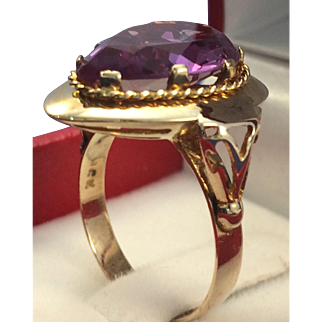 Vintage 14 K Yellow Gold Ring With Amethyst, Ring Size 7 1/2