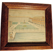 19th Century Pencil Drawing of Sing Sing Prison, American Folk Art