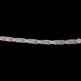 Vintage Sterling Silver and Lavender Jade Bracelet