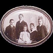 Family Portrait on Porcelain Pin or Pendant