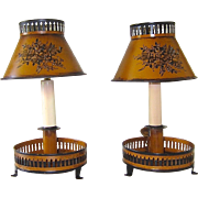 Pair of French Tole Table Lamps with Tole Shades