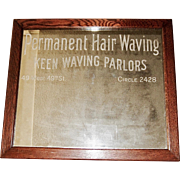 Keen Hair Waving Advertising Framed Shop Mirror, 1920's