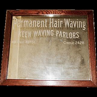 Keen Hair Waving Advertising Framed Shop Mirror, 1920's