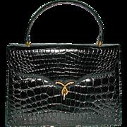 LUCILLE de PARIS  Black Alligator Handbag