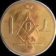 Masonic 100th Anniversary Souvenir Coin ,Gold Plated