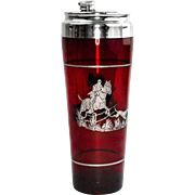 Ruby Red Glass Cocktail Shaker with Sterling Silver Overlay of Hunt Scene