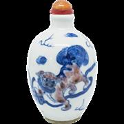 Porcelain Foo Dog Hand Painted Snuff Bottle