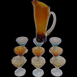 Mid Century Modern Colored Glass Martini Set