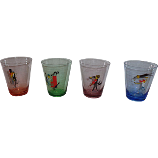 Colored Glass MCM Bar Cocktail Glasses (4)