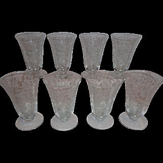 Tiffin Glass Horseshoe Ribbon Ice Tea Parfait Glasses (8)