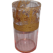 Cambridge Glass Imperial Hunting Scene Gold Encrusted Pink Optic Tumbler