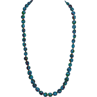 Hobe Signed Turquois Glass Bead Necklace