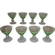 Green Glass Martini Cocktail Glasses (8)