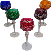 Bohemian Cut to Clear Colored Wine Glasses (5)