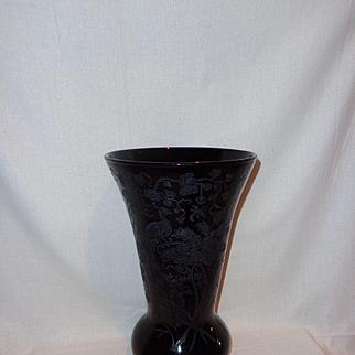Paden City Black Amethyst Peacock Rose & Nora Bird Vase