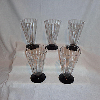 Etched Optic Black Amethyst Base Ice Tea Glasses (5)