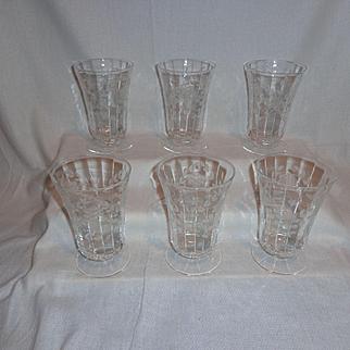 Vintage Glass Flower Etched Optic Ice Tea Parfait Glasses (6)