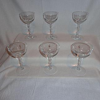 Fostoria Heraldry Liquor Cocktail Glasses (6)
