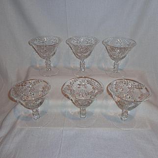Cambridge Glass Minuet Low Sherbet Glasses (6)