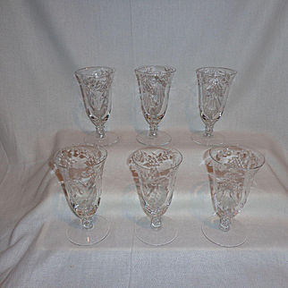 Cambridge Glass Minuet Footed Tumblers Glasses (6)