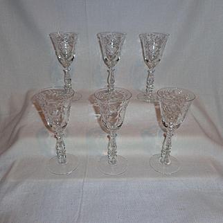 Cambridge Glass Minuet Claret Glasses (6)