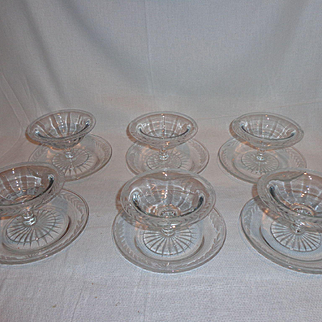 Vintage Glass Floral Etched Ice Cream Dish with Under Plate (6)