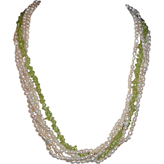 Pearl and Green Dolphin Clasp Necklace
