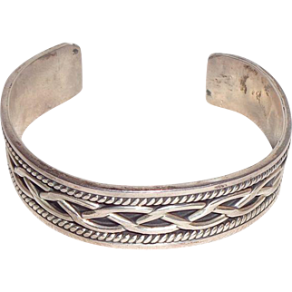 Sterling Silver Mexico Braided Cuff Bracelet