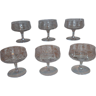 Cambridge Glass Etched Marjorie Low Champagne Sherbet Glasses (6)