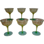 Tiffin Glass Optic Vaseline Glass Champagne Cocktail Glasses (6)