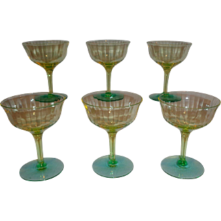 Tiffin Glass Optic Vaseline Glass Champagne Cocktail Glasses (6)