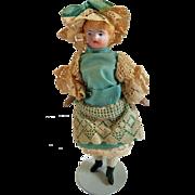 C. F. Kling Bisque Shoulderhead Dollhouse Doll Girl All Original Ca. 1880