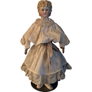 Parian Bisque Shoulder Head Doll Kid Body 18""