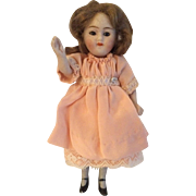 "German All Bisque Doll With Swivel Neck and Glass Eyes 4.5"" 11cm"