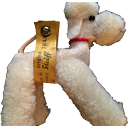 Vintage Small  Steiff White Poodle With Label and Button