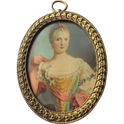 Antique Miniature Watercolor Oval Frame Portrait of a Young Lady, 18th Century Fashion