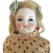 Parian Solid Dome Shoulder Head Doll With Mohair Wig and Paperweight Eyes