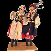 Vintage Foreign Souvenir Polish Couples Dolls