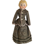"""Parian Shoulder Head Doll With Molded Blonde Hair and Fancy Boots 15"""""""