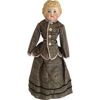 """Parian 15"""" Bisque Shoulder Head Doll With Molded Blonde Hair, Painted Blue Eyes and Fancy Boots"""
