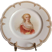 19th C. Sevres Porcelain Cabinet Plate Of Marie Antoinette Chateau de St. Cloud 9.5""