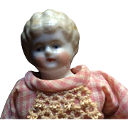 China Head Doll Made in Germany With Blonde Molded Hair 7.5""
