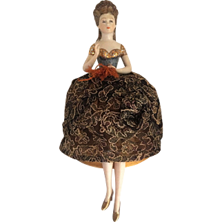 "Victorian Style ""Lady of Court"" High Gloss Porcelain Half Doll With Pincushion & Individual Legs"