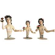 3 Dressel & Kister Porcelain Nude Half-Dolls c1873-1900