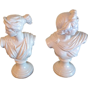 """Vintage Neoclassical Bookend Busts """"Apollo & Artemis"""" Italian Glossy Porcelain"""