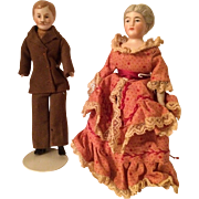 Dollhouse Dolls, Man With Moustache And Victorian Style Woman, Original
